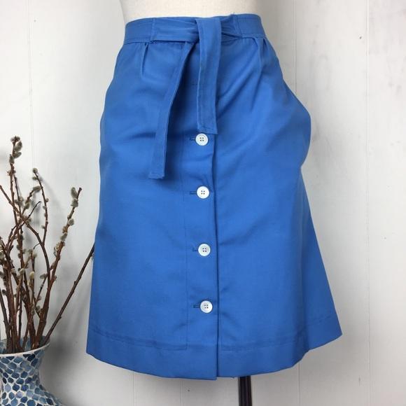 Vintage Dresses & Skirts - Deep Sky Blue Anne Klein for Penfold A-Line Skirt